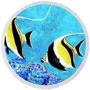 Moorish Idol Fish  #50 Round Beach Towel