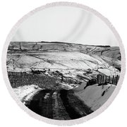 Moorland In The Snow Round Beach Towel