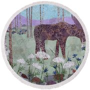 Moose And Three Sparrows Round Beach Towel
