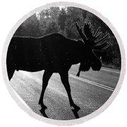 Moose Crossing Round Beach Towel