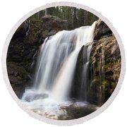 Moose Falls Yellowstone National Park Round Beach Towel