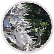 Moose Horn Tree Round Beach Towel