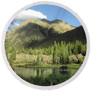 Moose In The Elk Creek Beaver Ponds Round Beach Towel