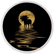 Moose In The Moonlight Round Beach Towel