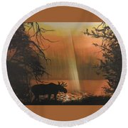 Moose In The Morning Round Beach Towel