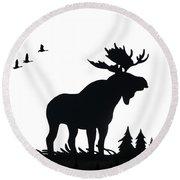 Moose Nature Round Beach Towel