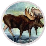 Moose Reflections Round Beach Towel
