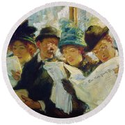 Mora Morning News C1912 Round Beach Towel