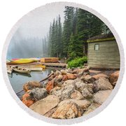 Moraine Lake And Boathouse Round Beach Towel