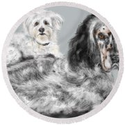 More Best Buds Round Beach Towel