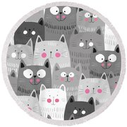 More Cats Round Beach Towel