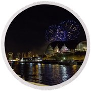 More Fireworks At Newcastle Quayside On New Year's Eve Round Beach Towel