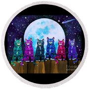 More Moonlight Meowing Round Beach Towel