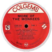 More Of The Monkees Lp Label Round Beach Towel