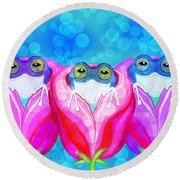 More Rose City Rain Frogs Round Beach Towel
