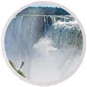 More Waterfalls At Devil's Throat In Iguazu Falls National Park-  Round Beach Towel