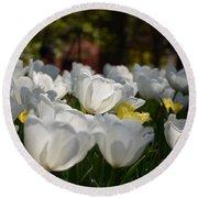 More White Tulips Round Beach Towel
