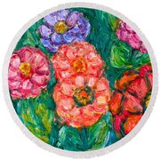 More Zinnias Round Beach Towel