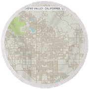 Moreno Valley California Us City Street Map Round Beach Towel