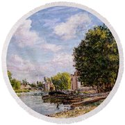 Moret-sur-loing Round Beach Towel by Alfred Sisley