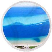Moreton Island Aerial View Round Beach Towel
