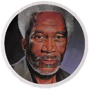 Morgan Freeman Portrait Round Beach Towel
