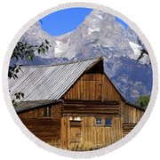 Mormon Row Barn  1 Round Beach Towel