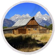 Mormon Row Barn 2 Round Beach Towel