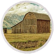 Mormon Row Barn No 3 Round Beach Towel