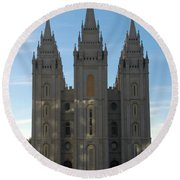 Mormon Temple Fall Round Beach Towel