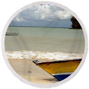 Morne Rouge Boats Round Beach Towel