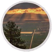 Morning Angel Lights Over The Valley Round Beach Towel