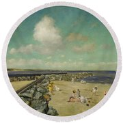 Morning At Breakwater, Shinnecock Round Beach Towel