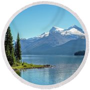 Morning At Lake Maligne, Canada Round Beach Towel