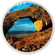 Morning At Landscape Arch Round Beach Towel