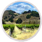 Morning At Mosby Vineyards Round Beach Towel
