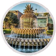 Morning At Pineapple Fountain Round Beach Towel