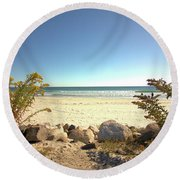 Morning At Qgunquit Beach. Round Beach Towel