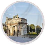 Morning At The Arc De Triomphe Du Carrousel  Round Beach Towel