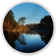 Morning At The Lake Round Beach Towel