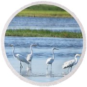 Morning At The Refuge Round Beach Towel