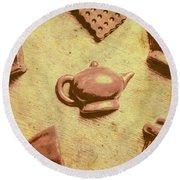 Morning Breakfast Chocolate Tea Set  Round Beach Towel