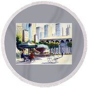 Morning, Bryant Park  Round Beach Towel