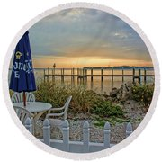 Morning By The Bay Round Beach Towel