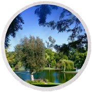 Morning By The Lake Round Beach Towel