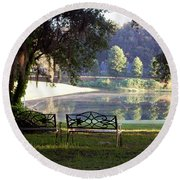 Morning By The Pond Round Beach Towel