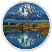 Morning Cloud Layer Oxbow Bend In Fall Grand Tetons National Park Round Beach Towel by Dave Welling