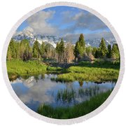 Morning Clouds Over Tetons Round Beach Towel