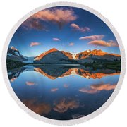 Morning Colors At Ice Field Center Round Beach Towel