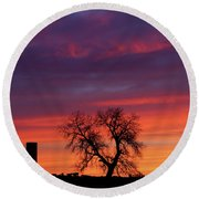 Morning Country Sky Round Beach Towel